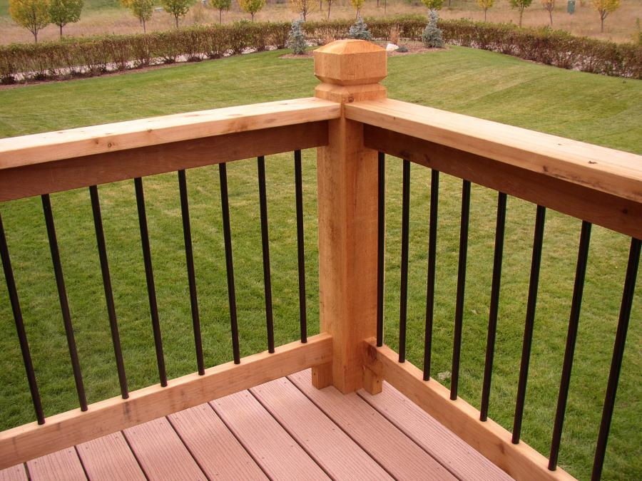 Redwoods Inc Waco - Cedar Railing Border with Iron Railing