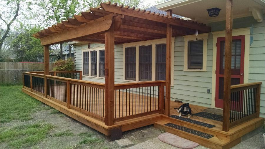 Redwoods Inc Waco - Covered Deck Patio Pergola Steps & Metal Railing