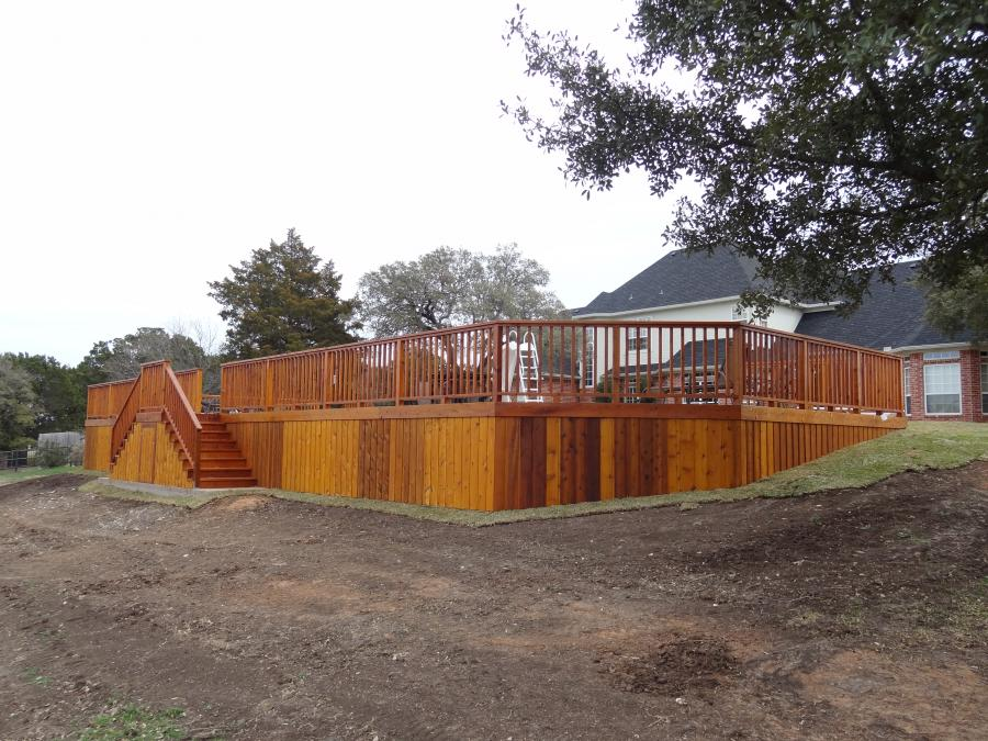 Redwoods Inc Waco - Above Ground Pool Deck with Railing & Staining