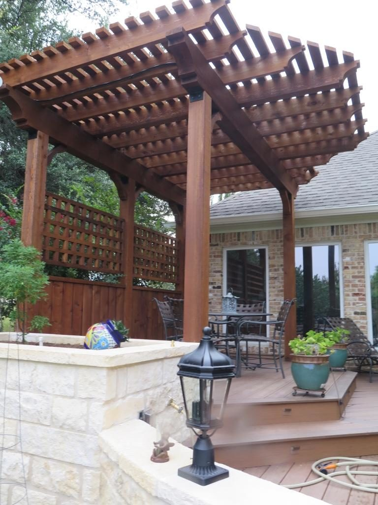 Redwoods Inc Waco - Custom Pool Pergola Sitting Area Project