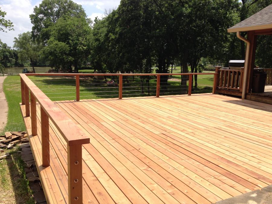 Redwoods Inc Waco - Red Cedar Deck with Cable Railing