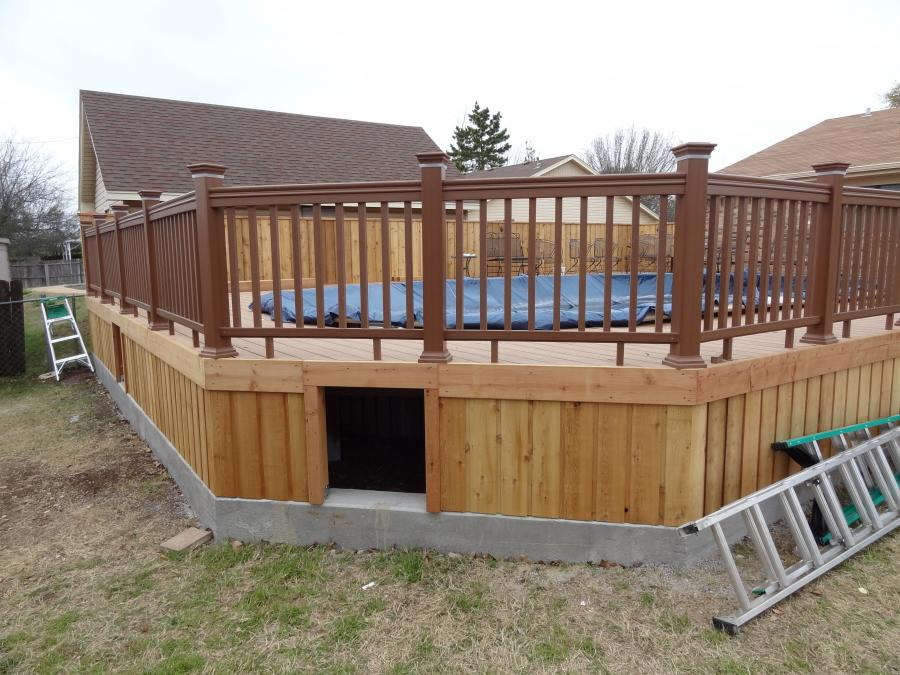 Redwoods Inc Waco - Pool Deck Construction with Wood Railing