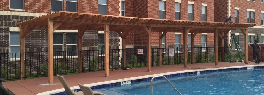 Redwoods Inc Waco - Large Pool Cedar Awning