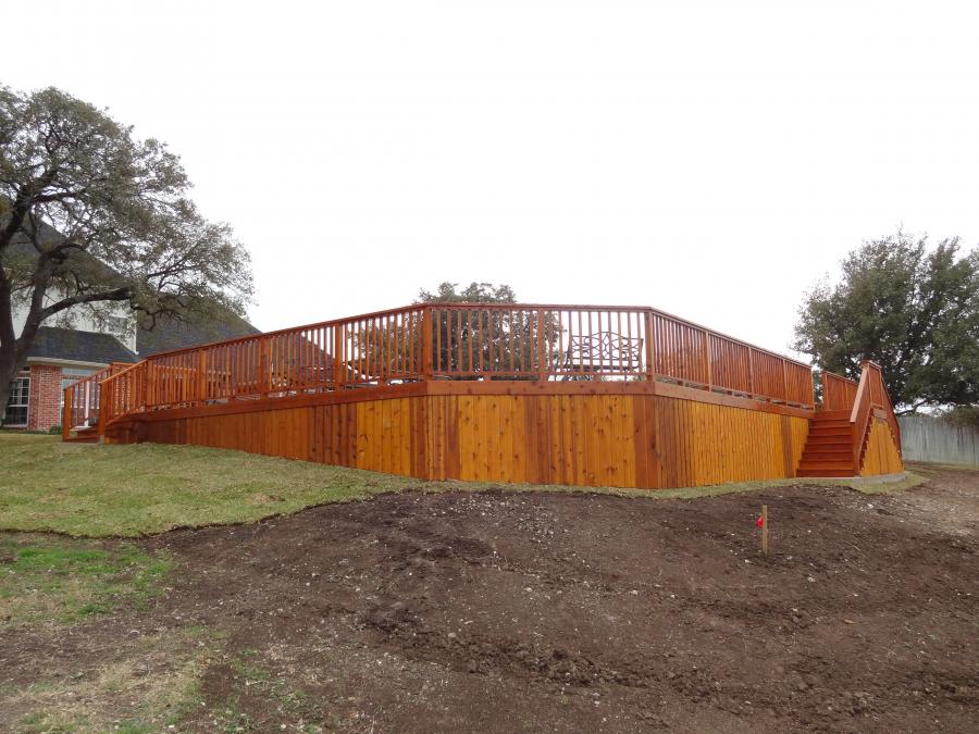 Redwoods Inc Waco - Above Ground Pool Deck, Stairs & Railing