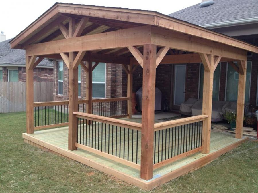 Redwoods Inc Waco - Cedar Porch & Deck Addition with Cedar & Railing