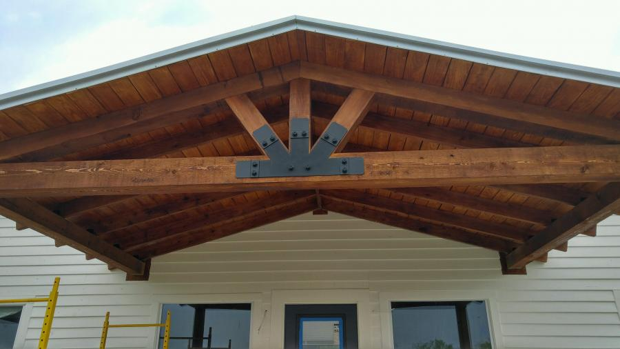 Redwoods Inc Waco - Awning Cedar Underside with Metal Bracing