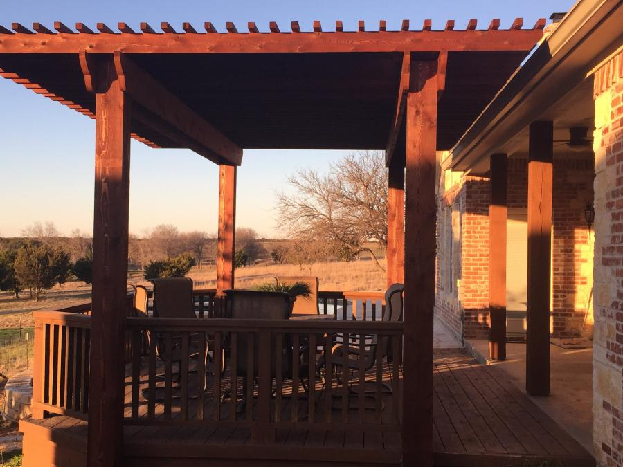 Redwoods Inc Waco - Pergola Project with Wood Railing