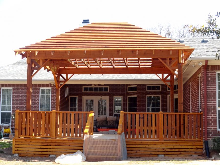 Redwoods Inc Waco - Pergola Cabana Deck with Steps Stained