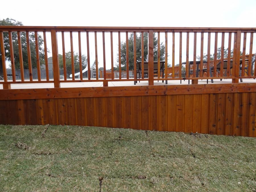 Redwoods Inc Waco - Above Ground Pool Railing & Deck Stained