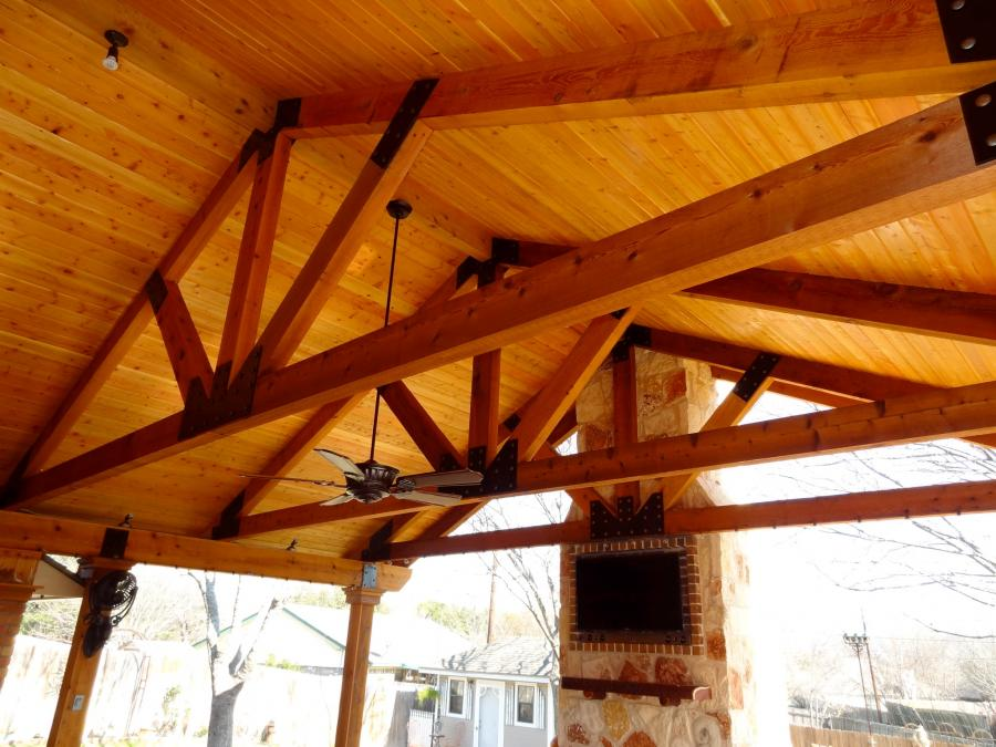 Redwoods Inc Waco - Undersiding of Cedar Outdoor Kitchen Area
