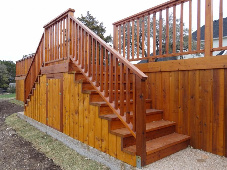 Redwoods Inc Waco - Outdoor Steps Lumber Project with Storage Compartment