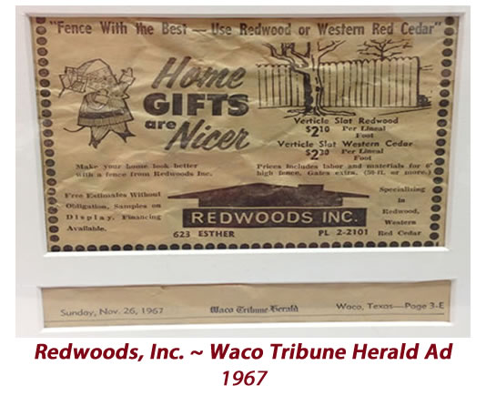 Redwoods Inc - Waco Tribune Herald Ad 1967