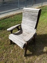 cedar chair with worn stain